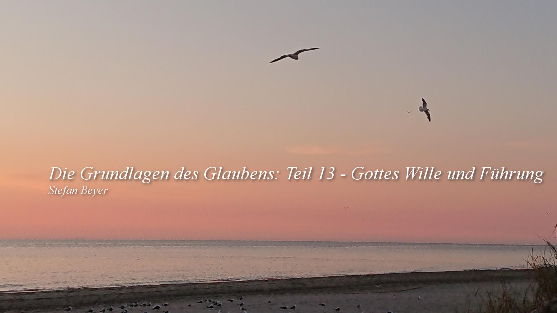 Die Grundlagen des Glaubens Teil 13 – Gottes Wille und Führung